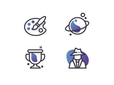 Some Good Ole' Resume Icons resume paint brush cup trophy award science planet agent gradient palette