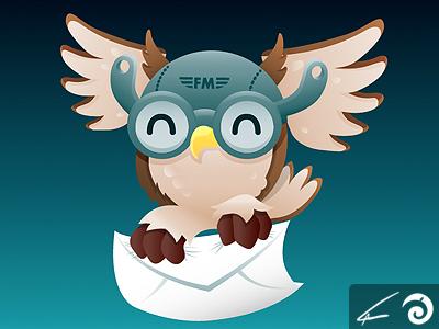 Messenger Owl 4 art illustrator owl bird illustration white brown blue night