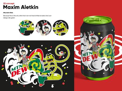 "Concept art ""Mountain Dew"" design vector illustration 3d graphic design branding animation"