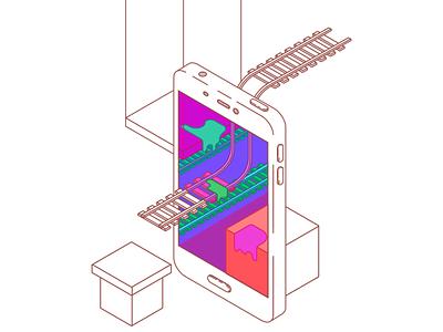 isometric phone vector app illustration flat design