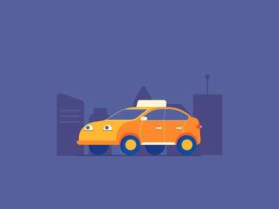 Taxi illustration vector flat design app