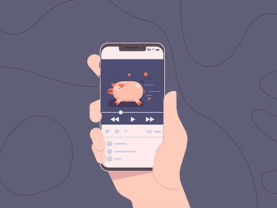 Pig in phone vector illustration flat design app