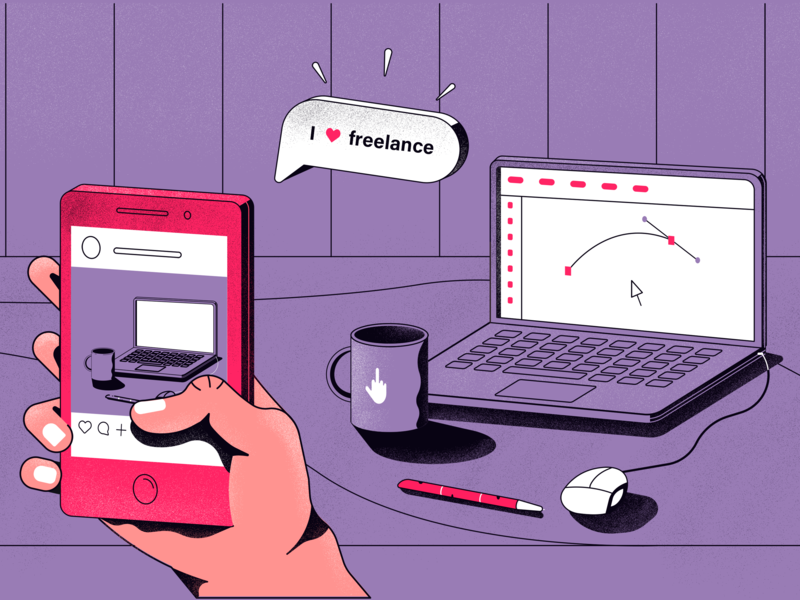 Freelance vector illustration flat design app
