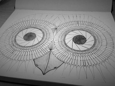 Aperture Eyes hand rendered sketch illustration pencil pen