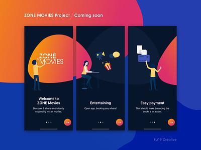 ZONE MOVIES Project - Coming Soon free download uiux ios food app music bitcoin chart dark digital movies invite dribbble messenger vietnam hiring me