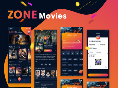 ZONE Movies - Dark mode - iOS UI KIT movies uiux free download invite messenger bitcoin chart hiring me music dark theme film