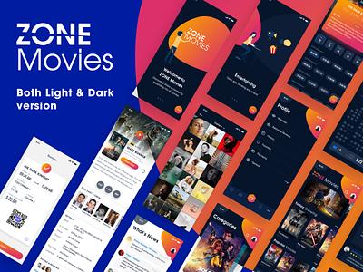 ZONE Movies - Both Dark & Light version - iOS UI KIT movies uiux free download invite messenger bitcoin chart hiring me music dark theme film vietnam dribbble invite android message creative chat