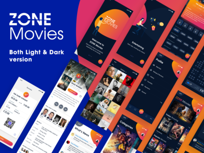 ZONE Movies - Both Dark & Light version - iOS UI KIT