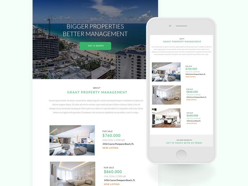 Property Newsletter photography properties real estate mail web design layout responsive newsletter