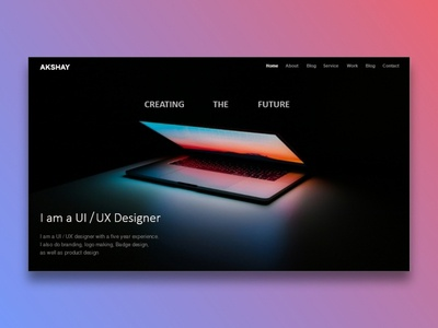 A landing page for personal portfolio