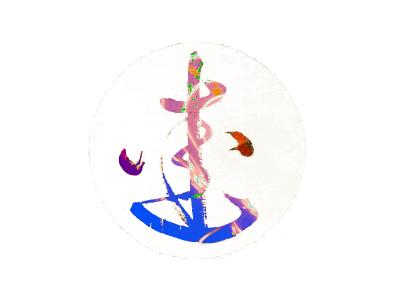 Rainbow logo symbol colourful logo ink illustration