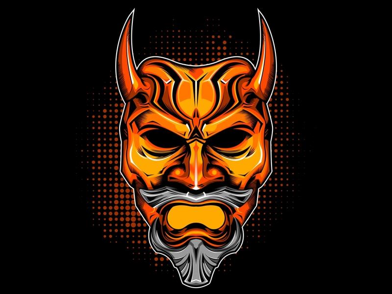 8a4f74c4 Golden Mask tattoo screen print majestic demonic golden printing tee mask t-shirt  vector design