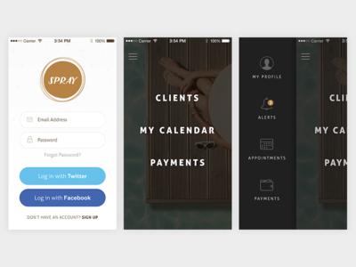 Spray App sidebar profile login ios iphone ui design app ux light dark menu