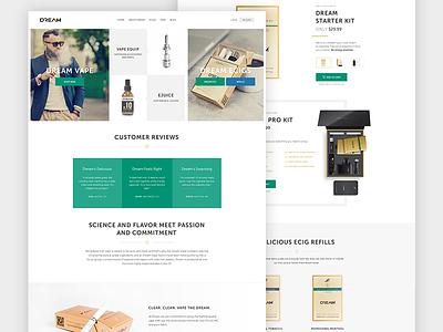 e-cigarette website redesign home flat elegant classy ux project clean ui gold design minimal product