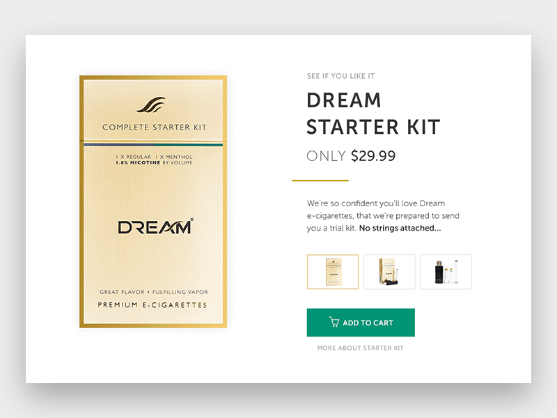 e-cigarette product page product minimal design gold ui clean project ux classy elegant flat home