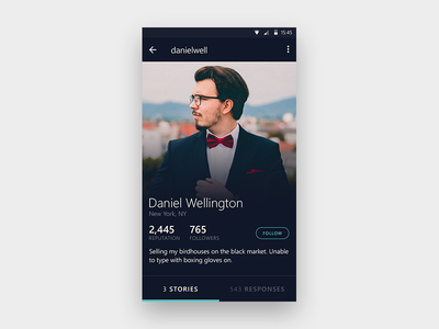 Profile Screen elegant teal dark ux app design ui minimal android profile