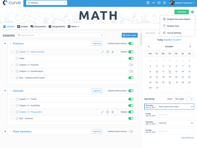 e-learning platform in progress web design ux ui project in progress courses learning dashboard flat design creative blue
