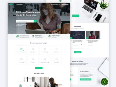 Home Page of The Freelance Platform web design ux ui project categories home page design creative freelance green
