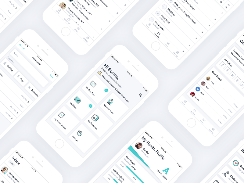 Healthcare App Design app app design iphone ui ux healthcare health teal flat clean