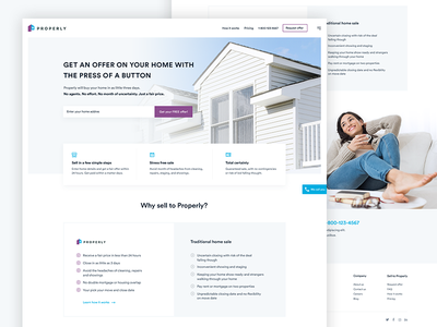 Real Estate Agency Home Page flat clean web design ux ui mortgage home design creative agency real estate blue