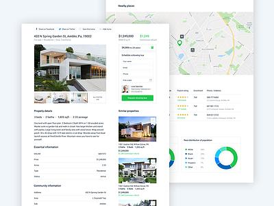Real Estate Details web design ux ui project house home design details real estate green
