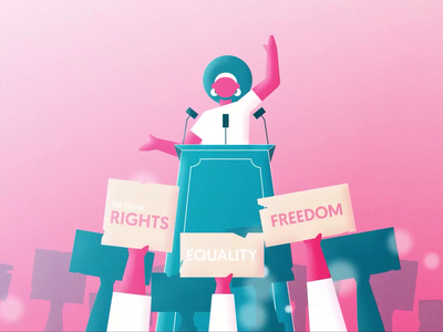 Stand illustrations women in illustration women empowerment women protest stand illustration rigging rigged character animation character design characterdesign limber duik bassel duik motion animation motion graphics motion design animation after affects