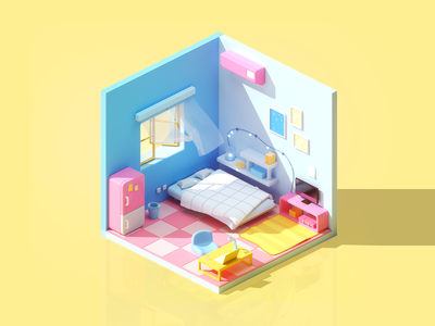 Cute little room interior c4d living room cinema4d