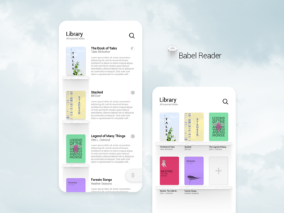 Babel Reader App UI WHITE