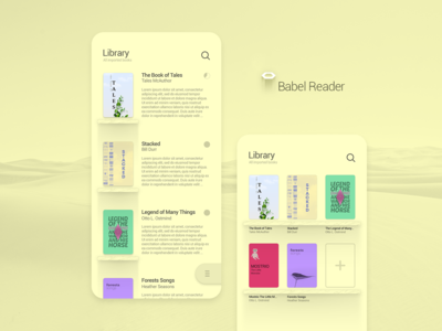 Babel Reader App UI YELLOW