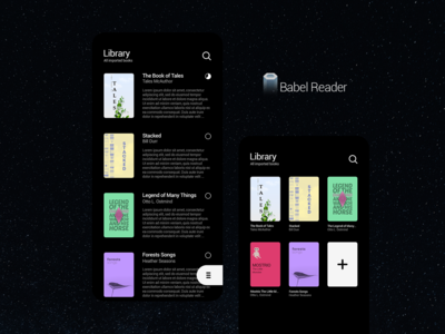 Babel Reader App UI BLACK