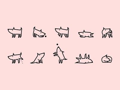 Dog's life – icon set