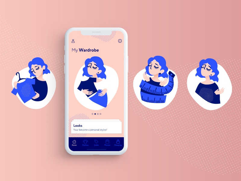 Illustration for  Wardrobe app people iphone cute illustration vector flat app ux concept art ux ui design concept ui design