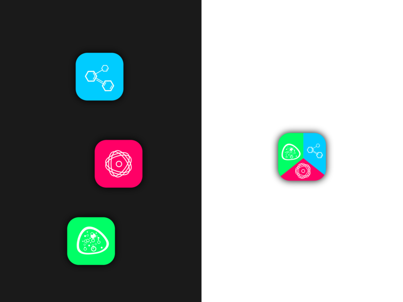 Science App Icons concept app science trio concept branding app ux ui icon logo flat design vector illustration