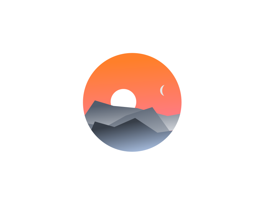 Mountains moon sun orange landscape gradient design vector illustration