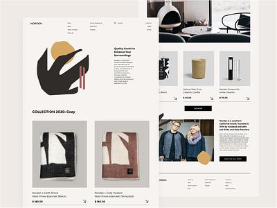 NORDEN ecommerce eshop minimalism illustration promo branding uiux website landing page minimal homepage design ux ui