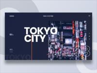Tokyo City city branding city travel tokyo minimal uidesign website concept flat web ux ui branding typography clean  creative 2019 cover design layout grid clean