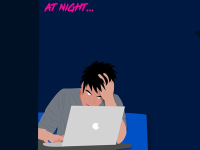 at night daily developer blue character illustrator 2dillustration 2d 2d character ui flat illustration vector typography branding design