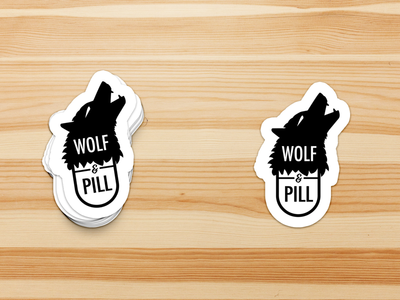 Wolf&Pill graphic design designer logo designer logo brand identity branding design wolfandpill wolfpill photoshop mock up adobe illustrator stickers