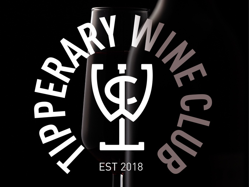 Tipperary Wine Club monogram logo badge design emblem logo crest logo graphic designer vector art vector illustrator adobe illustrator graphic design logo design logo identity designer identity design wine club wine bottle wine glass wine label winery wine