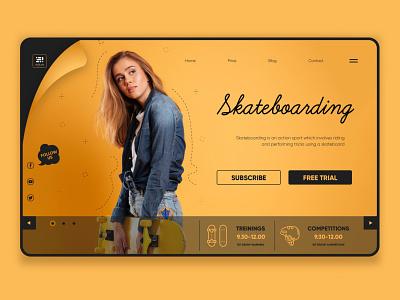Skateboarding Landing page slstudioss ui  ux design illustration adobe xd landingpage uidesign grapicdesign dribbble best shot sahillalani creative