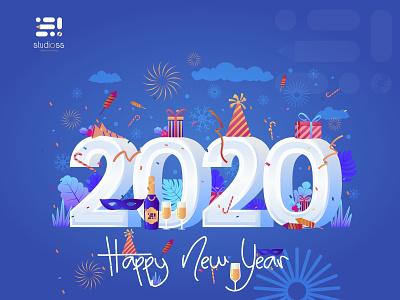 Happy New Year 2020 dribbble best shot new year slstudioss sahillalani happy new year creative adobe illustrator illustration vector dribbble 2020 trend 2020