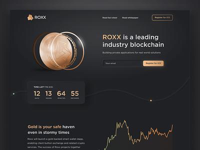 ROXX — Cryptocurrency Landing Page softui skeuomorphism skeumorphism neumorphism defi ethereum bitcoin black dark ui web gold token ico coin 3d crypto blockchain landing page cryptocurrency
