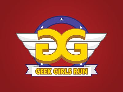 Geek Girls Run type branding vector icon typography design logo illustration