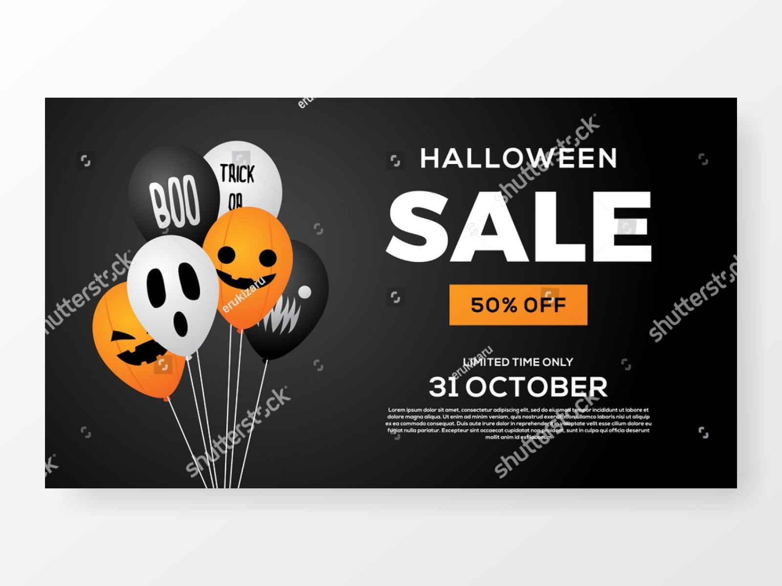 Halloween Sale Balloon Banner Background Vector By Erukizaru | Dribbble |  Dribbble