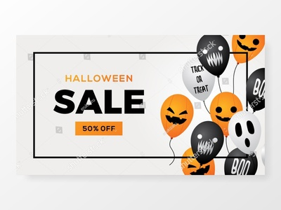 halloween sale balloon banner with frame white background vector