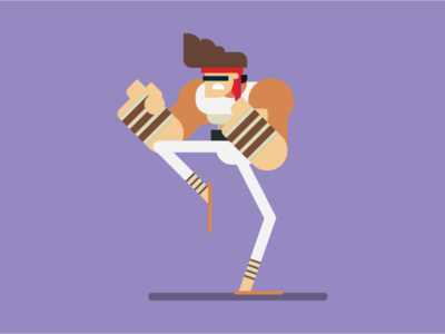 Flat Character Design of A Fighter