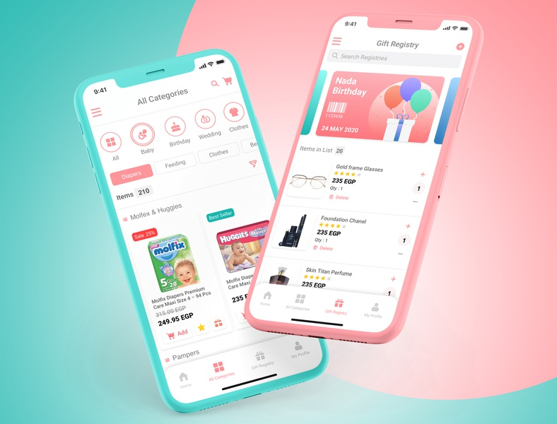 E-Commerce App Concept design 🛒 design app illustrator ux ui colour