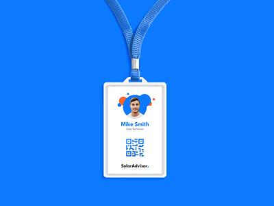 Solar Advisor ID Badge blue design logo solar energy id badge branding solar