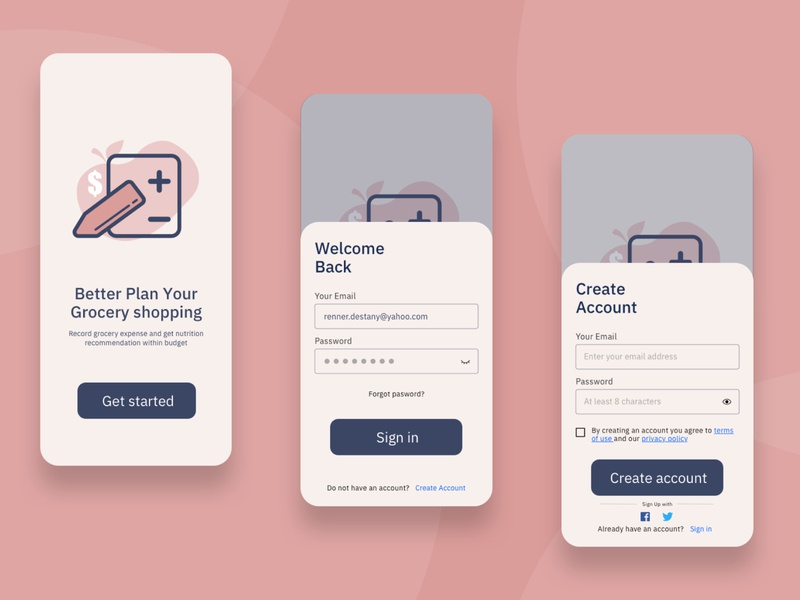 Daily UI_Landing & Account flat app icon logo ui