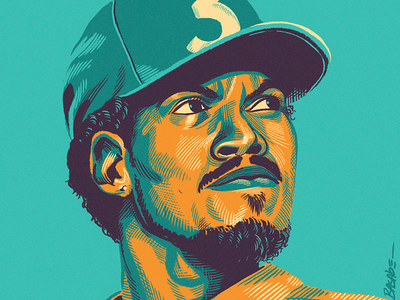 Chano crosshatch scratchboard etching digital painting painting illustration portrait
